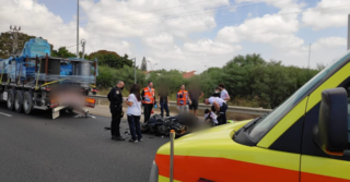 זירת התאונה על כביש 4