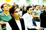 שירלי עודד ואוהד מרחב בכנס שיתוף ציבור בבית אליעזר בעבר | צילום: לירן טטרו