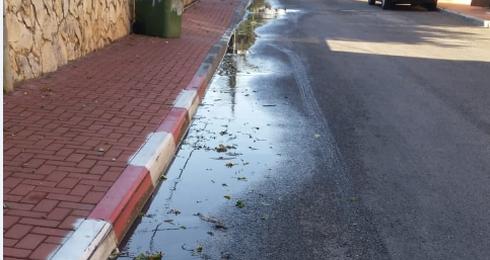 שפכים ברחוב הדפנה | צילום: באדיבות תושבים